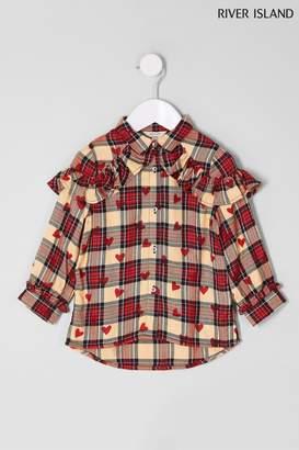 Next Girls River Island Red Check And Heart Print Shirt