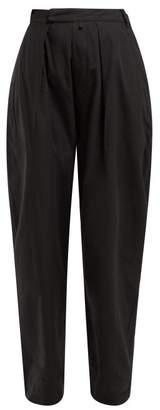 Katharine Hamnett Bonnie High Rise Cotton Trousers - Womens - Black