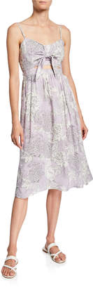 Black Tape Floral Knot-Front Cutout Dress