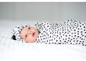 Baby Bling Dot Print Swaddling Blanket & Headband Set 3