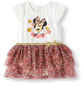 Minnie Mouse Baby Girl Flutter Sleeve Tiered Ruffle Skirted Dress