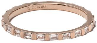 Ef Collection 14kt rose gold diamond baguette eternity stack ring