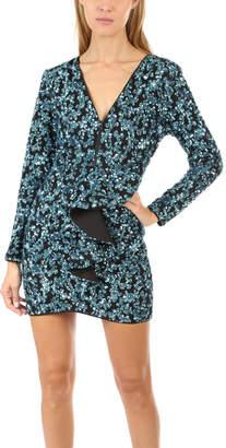 Self-Portrait Zip Front Sequin Frill Mini Dress