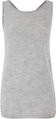 Amanda Wakeley Silver Twist Back Cashmere Top With Silk Detail