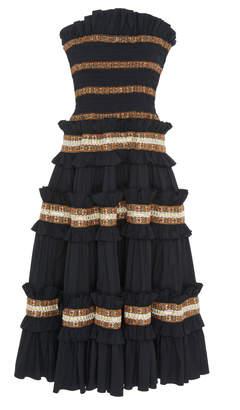Caroline Constas Carina Smocked Strapless Midi Dress