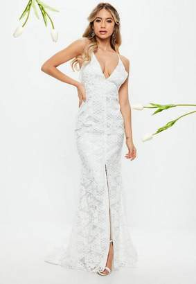 Low back wedding gowns shopstyle missguided bridal white lace cross low back fishtail maxi junglespirit Images