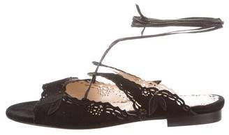 Marchesa Laser Cut Lace-Up Sandals