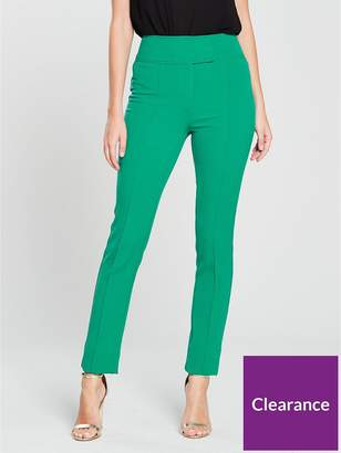 Very High Waisted Slim Leg Trouser - Green
