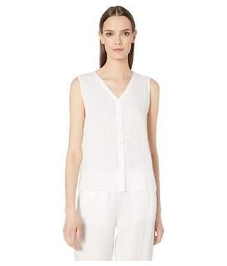 Eileen Fisher V-Neck Button-Front Sleeveless Organic Linen Top