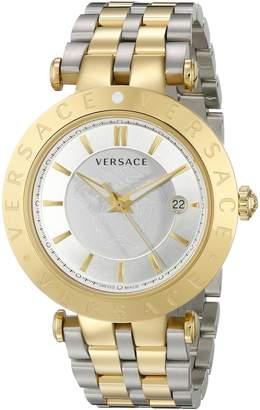 Versace Men's VQP080015 V-Race 42mm 3 Hands Analog Display Swiss Quartz Two Tone Watch