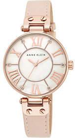 Anne Klein Pink Leather Strap Watch w/ GlitterAccents