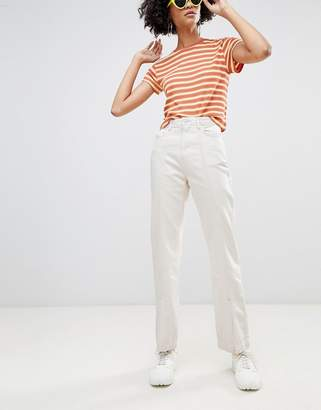 Weekday Limited Collection mom jeans with front seam and slit hem with organic cotton