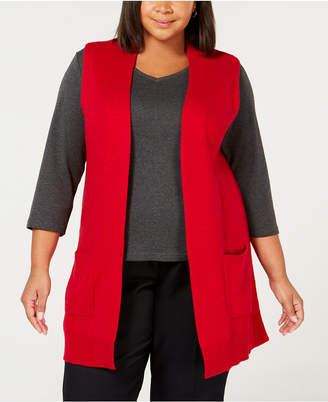 Karen Scott Plus Size Duster Sweater Vest