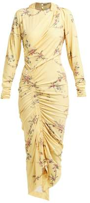 Preen by Thornton Bregazzi Louise Floral Print Stretch Jersey Midi Dress - Womens - Yellow Multi