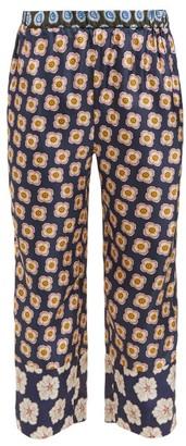 Biyan Pouri Floral Print Silk Cropped Trousers - Womens - Navy Multi