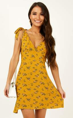 Showpo Miracles do happen Dress in mustard floral - 4 (XXS) Casual