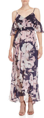 Vince Camuto Floral Cold Shoulder Chiffon Maxi Dress