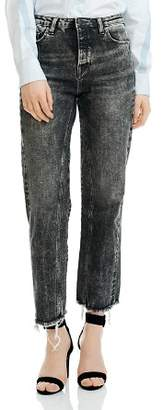 Maje Paola Acid Washed Cropped Frayed Jeans