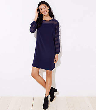 LOFT Petite Striped Sheer Yoke Dress
