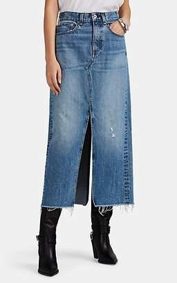 Rag & Bone Women's Clyde Distressed Long Denim Skirt - Blue