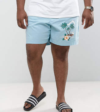 Asos Design PLUS Slim Shorts with Elasticated Waist and Beach Placement Print