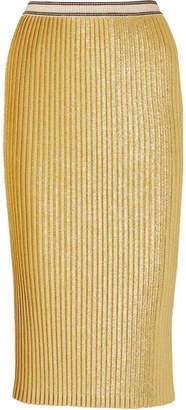 By Malene Birger Susianna Plissé Glittered Stretch-knit Midi Skirt