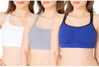 Fruit of the Loom Women's Cotton Pullover Sport Bra, Skinny Stripe/Black/red hot-3 Pack