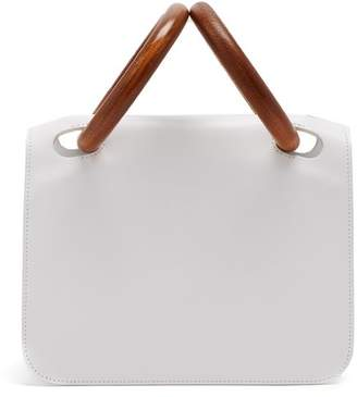 Roksanda Neneh Wooden Handle Leather Clutch - Womens - White Multi
