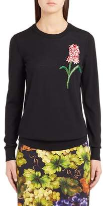 Dolce & Gabbana Flower Embellished Wool Sweater
