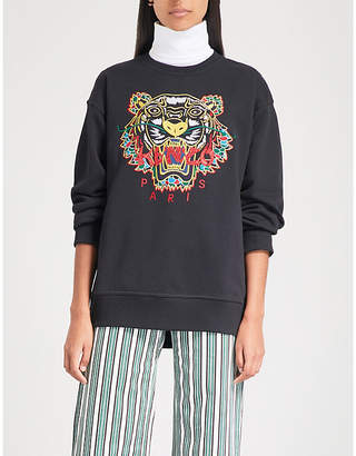 24e21e7df Kenzo Womens Black Stripe Tiger-Embroidered Cotton-Jersey Sweatshirt
