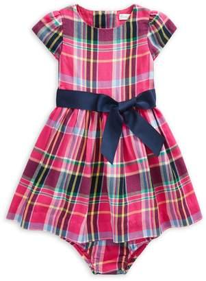 Ralph Lauren Childrenswear Baby Girl's 2-Piece Cotton Plaid Fit--Flare Dress Bloomers Set