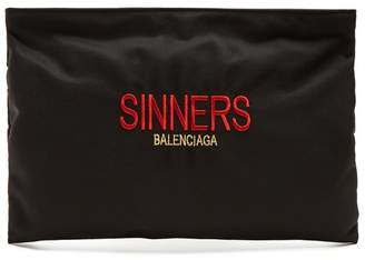 Balenciaga Explorer Coated Canvas Pouch - Mens - Black