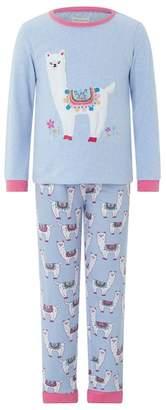 Monsoon Girls Blue 'Libby' Llama Jersey Pyjama Set