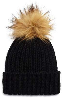 Fraas Girls' Faux-Fur Pom Hat