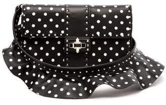 Valentino Rockstud Polka Dot Cross Body Leather Bag - Womens - Black White