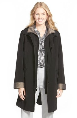 Gallery Two Tone Long Silk Look Raincoat (Regular & Petite) $210 thestylecure.com