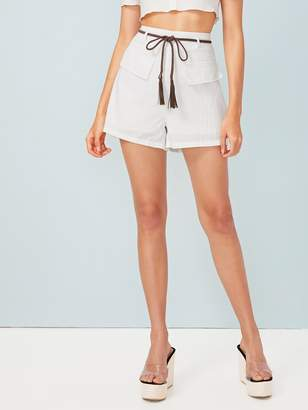 Shein Tassel Trim Belt High Waist Shorts