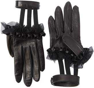 Gucci Ruffled Leather Gloves W/ Wrist Strap