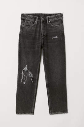 H&M Slim High Cropped Jeans - Black