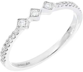 Bony Levy 18K White Gold Prong Set Diamond Geo Band Ring - Size 7