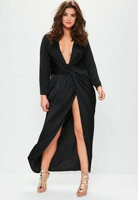 Missguided Plus Size Black Satin Thigh Split Wrap Maxi Dress