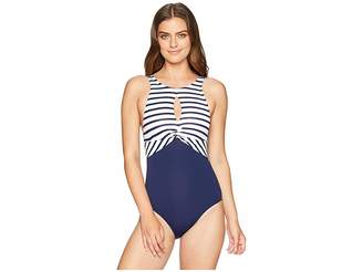 Tommy Bahama Channel Surf Twist Front High Neck One-Piece Women's Swimsuits One Piece