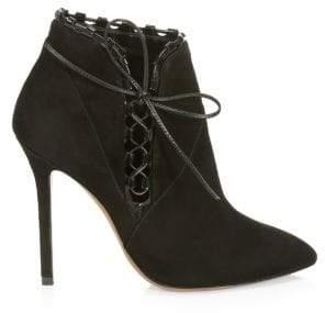 Gucci Alaà ̄a Alaà ̄a Women's Side-Lace Suede Booties - Black - Size 41 (11)