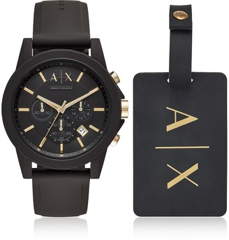 Armani Exchange Outerbanks Black Silicone Men's Watch with Luggage Tag