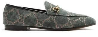 Gucci Jordaan Logo Jacquard Velvet Loafers - Womens - Green