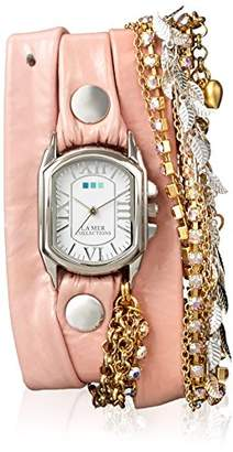La Mer Women's 'Chateau Silver Tokyo Crystal' Quartz Stainless Steel Case Back and Leather Watch