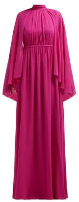 Giambattista Valli Gathered Cape Silk Georgette Gown - Womens - Dark Pink