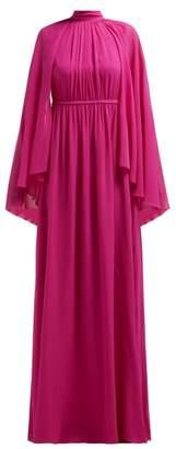Giambattista Valli Gathered Cape Silk Georgette Gown - Womens - Dark Pink