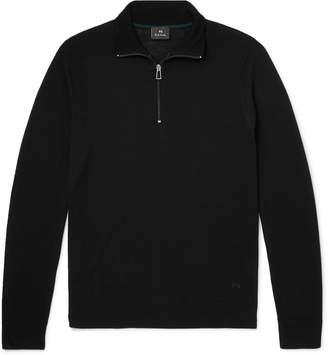Paul Smith Slim-Fit Piped Merino Wool Half-Zip Sweater - Men - Black
