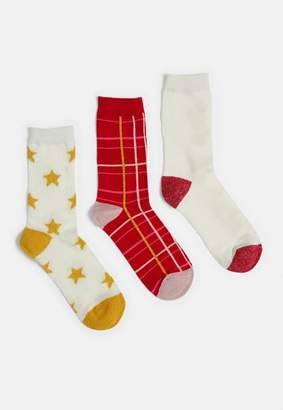 Missguided Gold 3 Pack Gift Box Sleigh All Day Socks